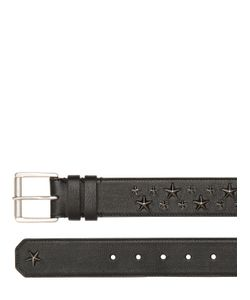 Jimmy Choo   40mm Star Embossed Biker Leather Belt