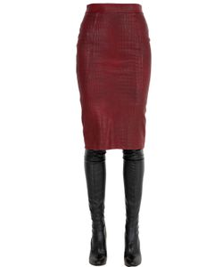 JOSE' SANCHEZ | Croc Embossed Nappa Leather Pencil Skirt