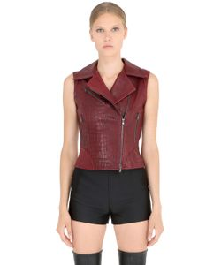 JOSE' SANCHEZ | Croc Embossed Nappa Leather Moto Vest
