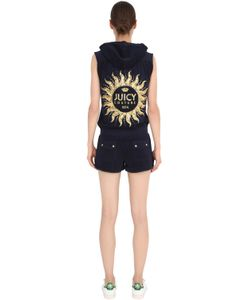 Juicy Couture | Hooded Embellished Cotton Jersey Romper