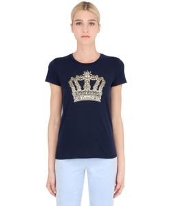 Juicy Couture | Crown Crystal Logo Cotton Jersey T-Shirt