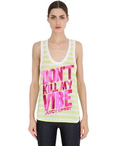 Juicy Couture | Printed Striped Cotton Jersey Tank Top
