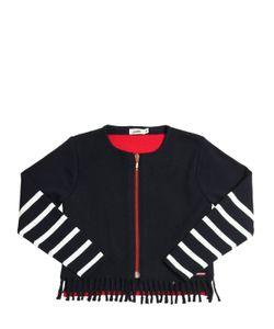 Junior Gaultier | Wool Felt Cotton Knit Zip-Up Sweater