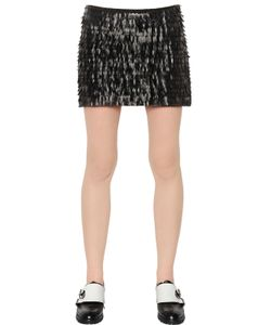 Karl Lagerfeld | Fringed Faux Leather Jersey Skirt