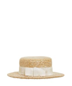 KREISI COUTURE | Sophie Tulle Overlay Straw Boater Hat