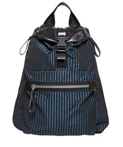 Lanvin | Striped Nylon And Leather Backpack