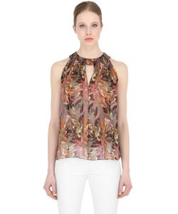 LARUSMIANI   Printed Silk Top With Pleats