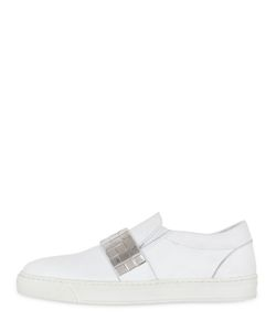 LATHBRIDGE BY PATRICK COX | Mirrored Band Leather Slip-On Sneakers