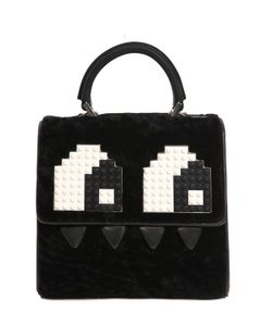Les petits joueurs | Mini Alex Eyes Shearling Leather Bag