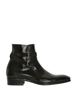 Lidfort | Belted Brushed Leather Ankle Boots