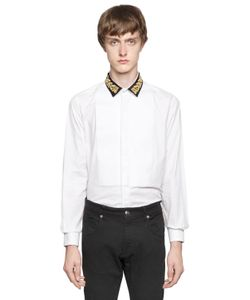 LORDS & FOOLS | Embroidered Collar Cotton Poplin Shirt