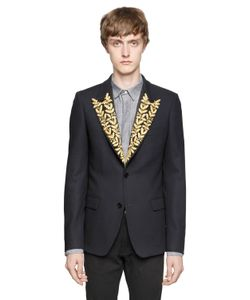 LORDS & FOOLS | Embroidered Lapels Wool Crepe Jacket