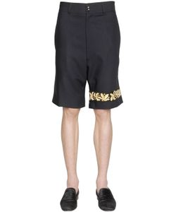 LORDS & FOOLS | Embroidered Wool Crepe Bermuda Shorts