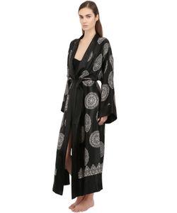 LORETTA CAPONI   Printed Silk Satin Robe