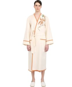 LORETTA CAPONI | Handmade Monkey Embroidered Linen Robe