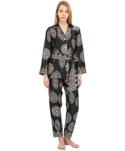 LORETTA CAPONI | Printed Silk Satin Pajama Top Pants