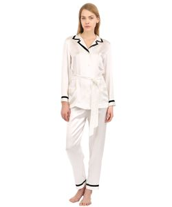LORETTA CAPONI | Silk Satin Pajama Top Pants