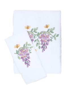 LORETTA CAPONI | Embroidered Wisteria Towel Set