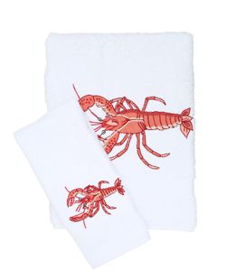 LORETTA CAPONI | Embroidered Lobsters Towel Set
