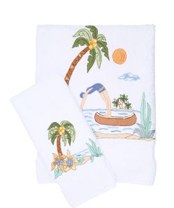LORETTA CAPONI | Embroidered Tropical Swimmer Towel Set