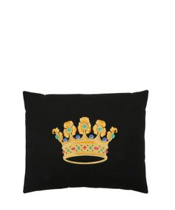 LORETTA CAPONI | Crown Embroidered Wool Pillow