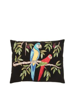 LORETTA CAPONI | Embroidered Parrot Wool Pillow