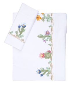 LORETTA CAPONI | Cactus Tree Embroidered Sheet Set
