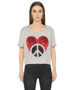 Love Moschino | Sequined Crop Cotton Jersey T-Shirt
