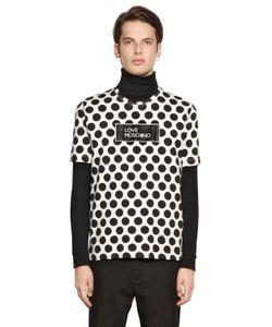Love Moschino | Logo Dot Print Cotton Jersey T-Shirt