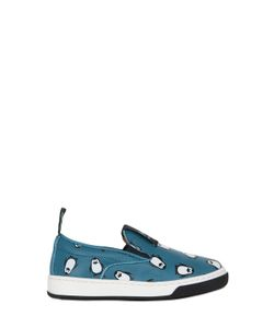 MAÁ | Penguins Print Leather Slip-On Sneakers