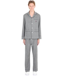 MAISON MARCY | Cotton Flannel Pajama Shirt And Pants