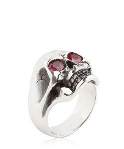 MANUEL BOZZI   Skull Ring With Rubies