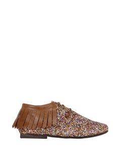 MANUELA DE JUAN | Glittered Leather Shoes W/ Fringe