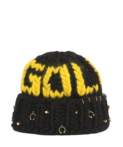 Maria Francesca Pepe | Gold Wool Knit Beanie With Piercings