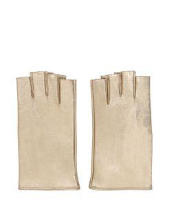 MARIO PORTOLANO | Fingerless Metallic Leather Micro Gloves