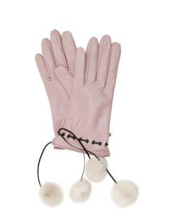 MARIO PORTOLANO | Leather Gloves W/Fur Pompoms