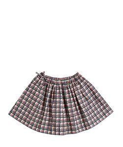 MARNI JUNIOR | Plaid Print Cotton Gabardine Round Skirt