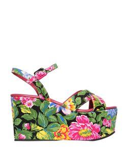 Massimo Lonardo | 100mm Floral Silk Satin Platform Sandal