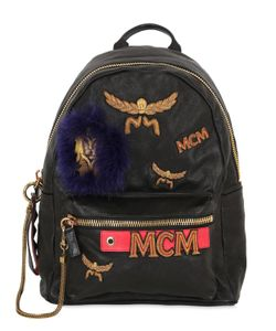 MCM   Medium Logo Patched Leather Backpack