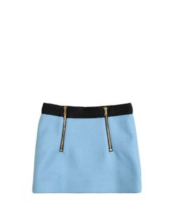 MILLY MINIS | Double Face Wool Blend Mini Skirt W/Zips