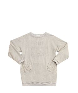 MONNALISA FUN | Embossed Lurex Cotton Sweatshirt Dress