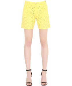 Monocrom   Cotton Eyelet Denim Shorts