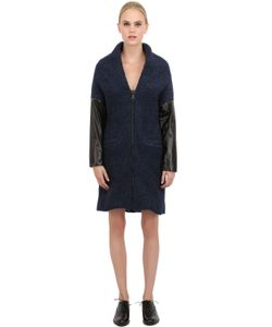 MORFOSIS | Wool Boucle And Nappa Leather Coat