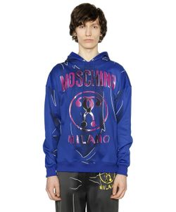 Moschino | Hooded Shadow Cotton Blend Sweatshirt