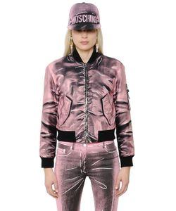 Moschino | Shadow Print Gabardine Bomber Jacket