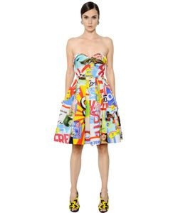 Moschino | Strapless Fresh Print Cotton Drill Dress