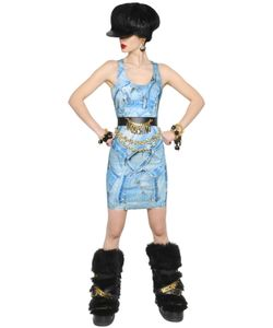 Moschino | Denim Printed Stretch Gabardine Dress