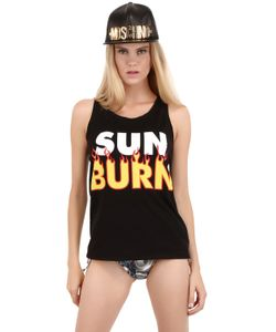MOSCHINO BEACHWEAR | Sun Burn Print Cotton Jersey Tank Top