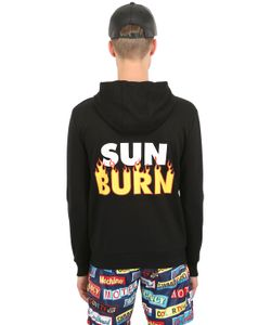 MOSCHINO BEACHWEAR | Hooded Sun Burn Zip Up Cotton Sweatshirt