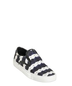Mother Of Pearl | Floral Stripe Satin Slip On Sneakers